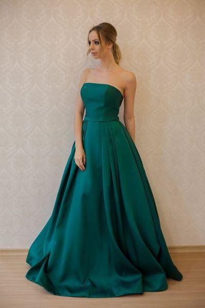 Formale Abendkleider trägerlosen grün lange Damenmode Brautkleid besonderen Anlass Prom Brautjungfer Kleid 17LF183
