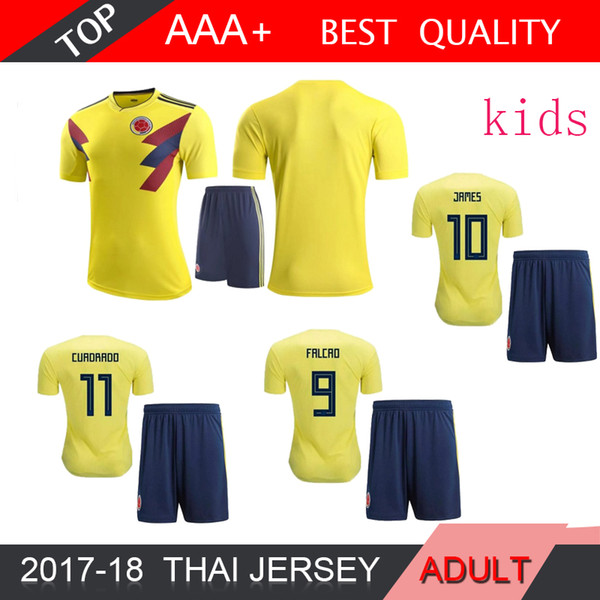 2018 World Cup Colombia KIDS home yellow soccer jersey 17 18 away blue FALCAO JAMES CUADRADO TEO BACCA football shirts National team