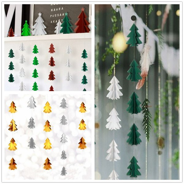 Christmas Decoration Pendant Diy Flag Paper String Pull Flower Three Dimensional Mini Christmas Tree Hanging Decor Home Holiday Christmas Window