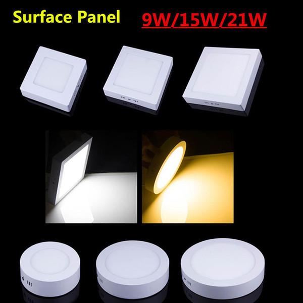 CE Dim Led Panel Işık 9 W 15 W 21 W Yuvarlak / Kare Sıva Üstü Led Downlight aydınlatma Led tavan ışıkları spot 110-240V + Sürücüler