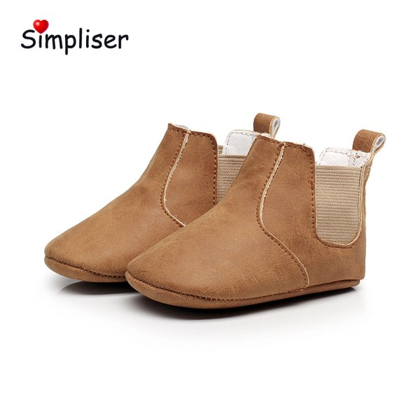 2018 Baby Leather Boots Crib Booties Newborn Baby Girls Boys Footwear Slip-on Infant Floor Shoes Soft Sole Walking Boots