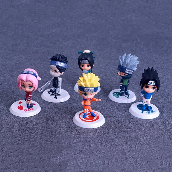 Naruto Figurines Jouets 6 pièces / lot 7 cm PVC Naruto Kakashi Sasuke Figurines Enfants Jouets Cadeaux LA683