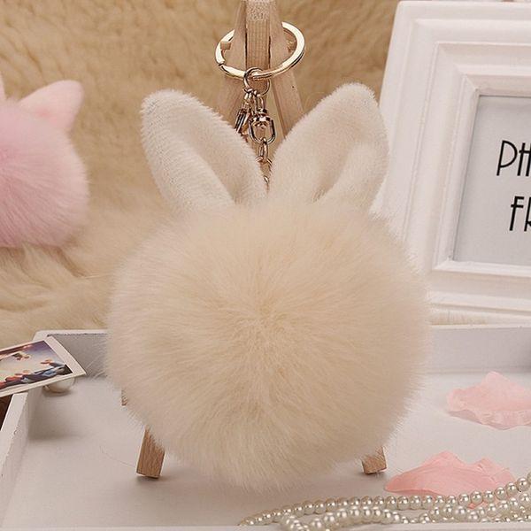 New Trinket Rabbit Bunny Rabbit keychain Pompon Fluffy Women Rabbit Ear Fur Ball Key Chain Rings Bag femme Pom Pom key ring