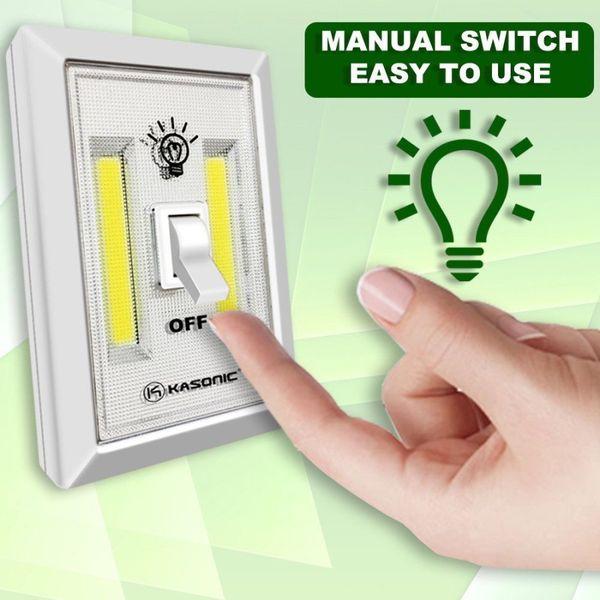 Interrupteur mural LED COB Veilleuse Lumière blanche sans fil Portable 200 Lumen haute qualité