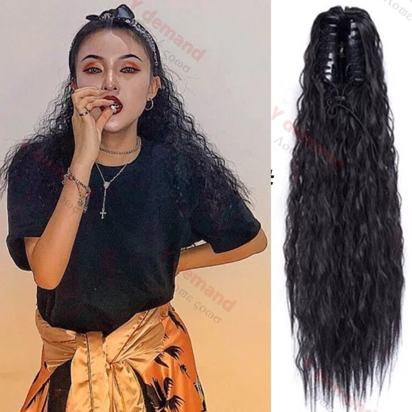Y Demand Long Wavy Curly Hair Ponytail For Black Women Synthetic Ponytail Pony Tail Heat Resistant Fake Hair Pieces Hairpiece Ponytail Blonde Hair