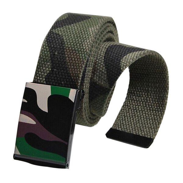 Unisex Women Men Belt Automatic Metal Buckle Waist Strap Sports Canvas Belts Camouflage Belts cintura donna ceinture homme A9