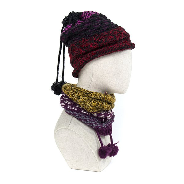 IANLAN Femmes Hiver Multifonctions Anneau Style Bonnets Rayé Foulards Foulards Filles Tricotées Double Usage Chapeau et Silencieux IL00202