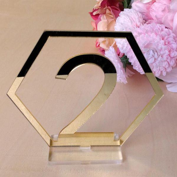 1 Satz Hexagon Table Number Zeichen für Hochzeit Party Decor Acryl Anzahl, römische Ziffern geometrische Mittelstück