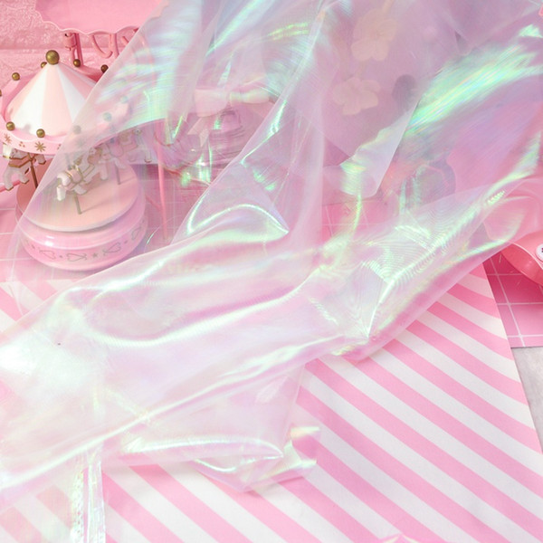 75 cm * 75 cm Designer Fluoreszierende Stoffe Bunte Shiny Gaze Stoff Bühne Hochzeit Decor Voile Transparente Holographische Stoff