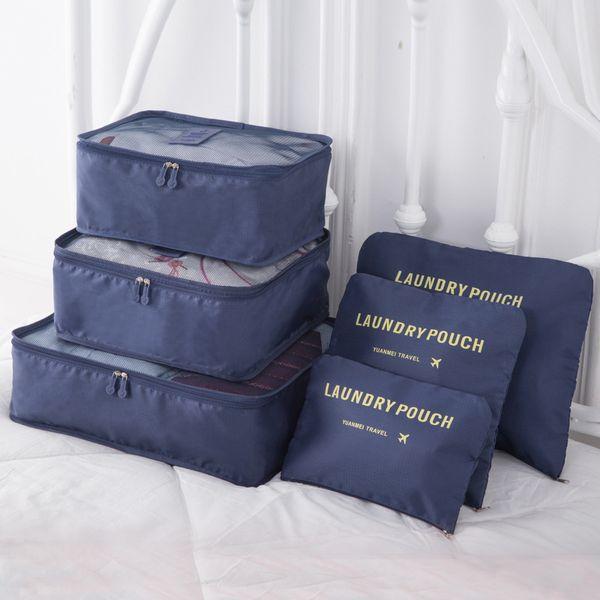 6PCS/Set High Quality nylon Cloth Travel Mesh Bag In Bag Luggage Organizer Packing Cube Organiser for Clothing Family Closet sac