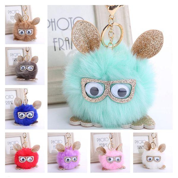 Cute Faux Rabbit Fox Fur Pom Pom Ball Owl Keychain Keyring 11 Styles 3.93 Inch Fluffy Pompom Pendant Key Rings Key Holder