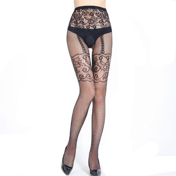 Fake Garter belt Print Fishnet Pantyhose Women Nylon Stockings Women Tattoo Thigh High Stockings Open Crotch Sexy