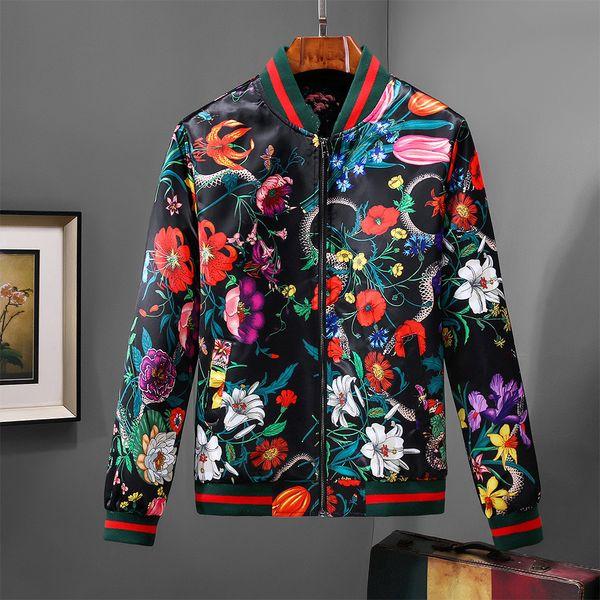 Alta qualità Nuova giacca di design di lusso Giacca a vento casuale Miscela di cotone Giacche da uomo Tasca con cerniera Animal stampato Pattern Giacche Cappotti