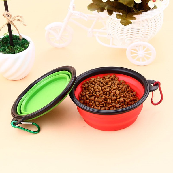 top popular 2019 hot Travel Collapsible Pet Dog Cat Feeding Bowl Water Dish Feeder Silicone Foldable 9 Colors To Choose 2021