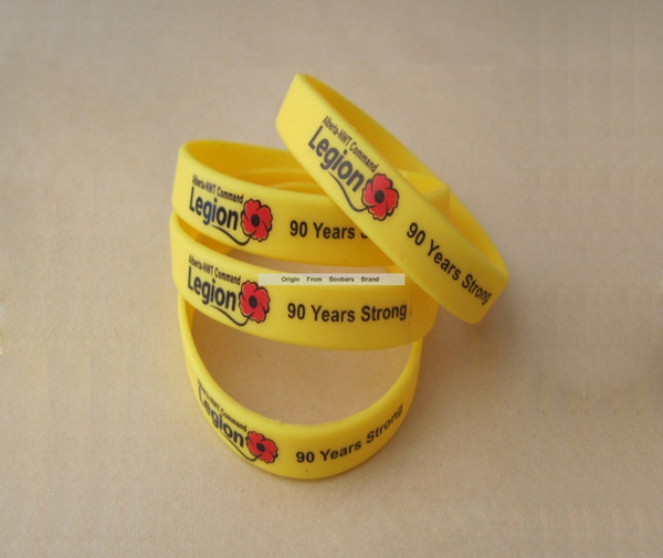 Gift Promotion Fashion Yellow Solid Bands Flower Text Print Celebrating Anniversary Party Festival Silicone Bracelet