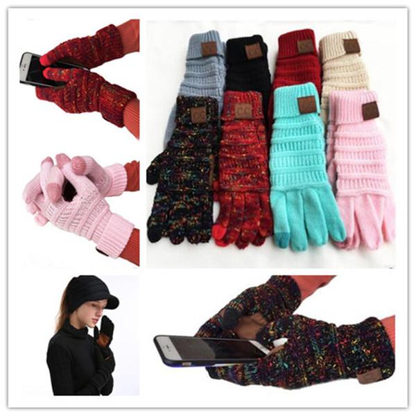 2019 Weihnachtsgeschenk CC Stricken Touchscreen Handschuh Kapazitive Handschuhe Frauen Winter Warme Wollhandschuhe Rutschfeste Gestrickte Telefingers Handschuh