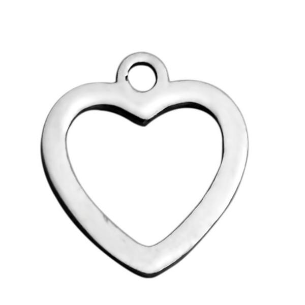 Edelstahl Liebe Charms Hohle Herzen Charm Anhänger für Armband Halskette Schmuckherstellung DIY Versorgung 30 Teile / los