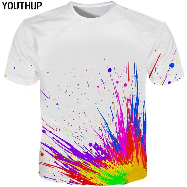YOUTHUP 2018 3D T shirt Men/Women Multicolor Splash Paint Print White T Shirt Men Harajuku Funny T-shirt Casual Tee Tops S-5XL