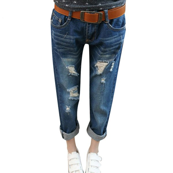 Summer Trousers High Waist Mom Ripped Boyfriend Jeans for Women Denim Pants Plus Size 26 38 Ladies Loose Ripped Jeans Woman