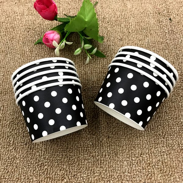 10pcs/lot white dots cup cake black white dot ice cream dot baby shower wedding party decoration dots cake cup ice cream bowel