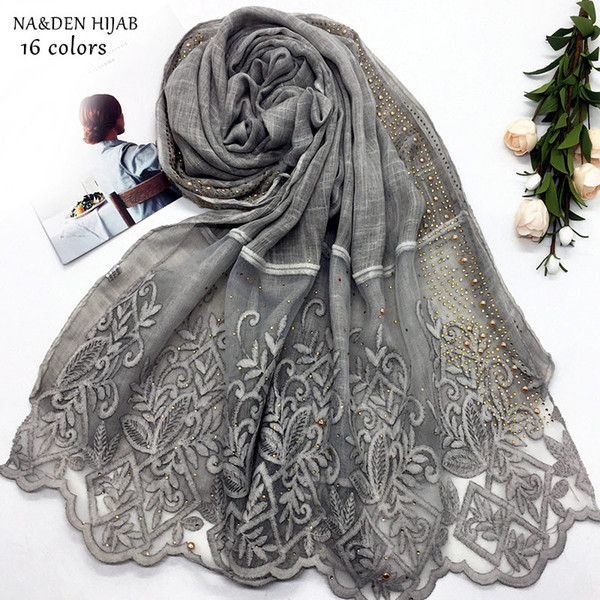 NEW gold rhinestone edges hijab scarf lace shawl embroidery flower fashion women scarves shawls brand wrap soft muffler 16colors