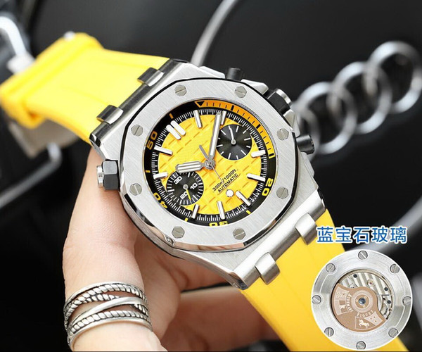 sapphire glass automatic YELLOW belt B SILVER 42 MM CASE fashion AAA men watch wholesale luxury brand new Stainless steel mens watches