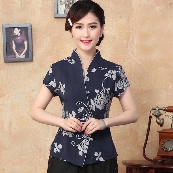 Bleu 2015 Nouvelle arrivée Tradition chinoise Bobine de papillon pour femme Clasper Blouses Chemises Hauts M L XL XXL 3XL 4XL 2331