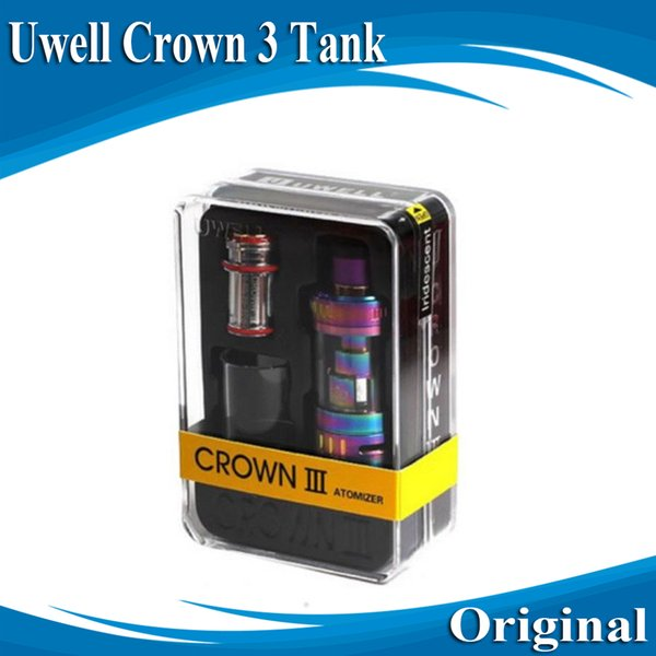 300% Authentic Uwell Crown 3 Atomizer 5ml 24.5mm Airflow Control Sub ohm Tank 0.25ohm 0.5ohm Fit 510 Mods