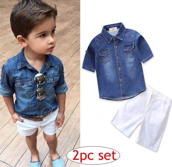 ins Boys Childrens Clothing Sets Denim Shirts Top & White Shorts 2Pcs Set Fashion Boy Kids Short Sleeve Tops Boutique Clothes Enfant Outfits