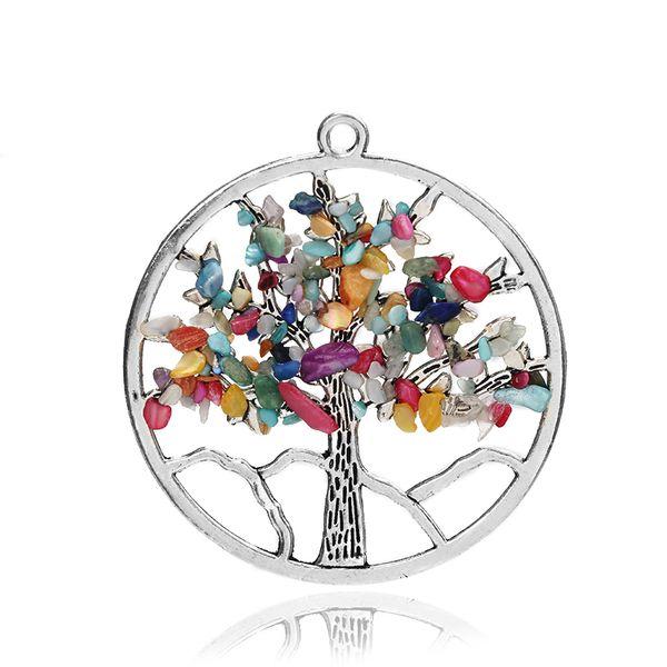 Fashion Jewelry Chakra Tree of Life Quartz Pendant Multi Color Wisdom Tree Natural Stone Pendant Necklace Charms Wholesale
