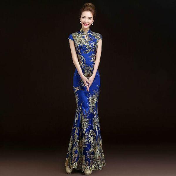 2016 Mode Rouge Dentelle De Mariée De Mariage Qipao Longue Cheongsam Chinois Traditionnel Robe Mince Rétro Qi Pao Femmes Robes Anciennes