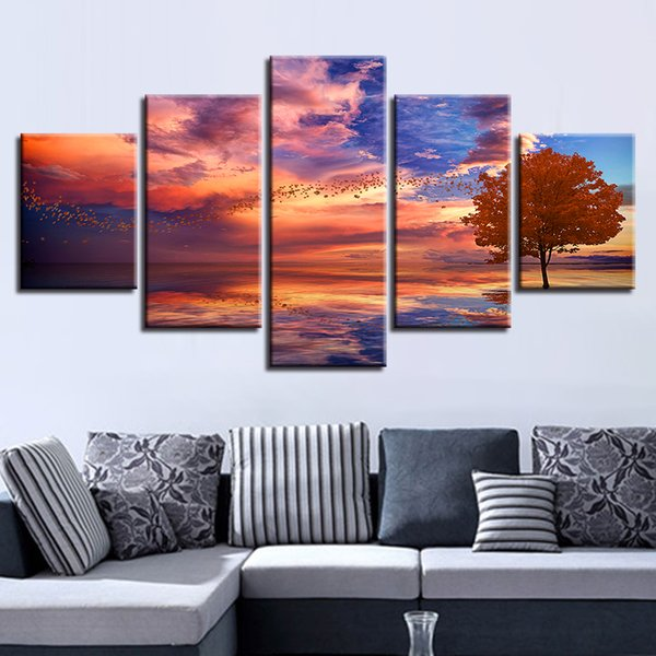 Canvas HD Prints Poster Home Decor Frame 5 Pieces Abstract Lake Of Sunset Tree Scenery Paintings Modular Anime Pictures Wall Art