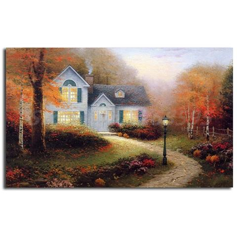 Thomas Kinkade The Blessings Of Autumn High Quality Handpainted & HD Print Landscape Art Oil Painting Wall Art On Canvas Home Decor l190