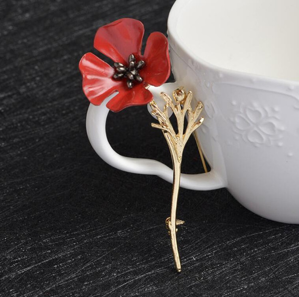 2018 New Creative flowers poppies alloy brooch fashion ladies dress brooch gift gifts, weddings free shipping