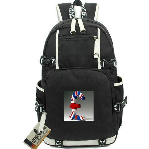 Pound sterling day pack Money symbol daypack Nice schoolbag Leisure packsack Laptop rucksack Sport school bag Out door backpack