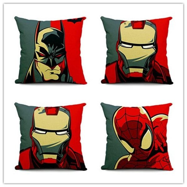 New Creative Iron Man Batman Pillowslip Home Furnishing Textile Soft Cushion Cover The Avengers Flax Pillow Case 5 8ls aa