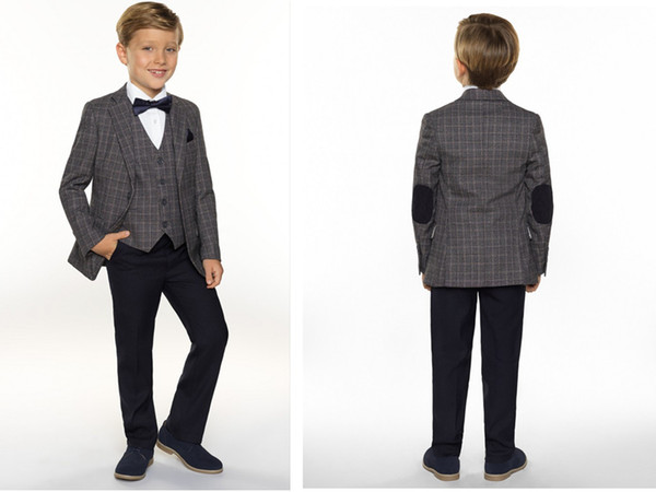Four Piece Boy Tuxedos Kids Wedding Suits Peaked Lapel Custom Made Boys Formal Wear (Jacket + Pants +Pocket Square +Bow Tie) Gowns For Boys