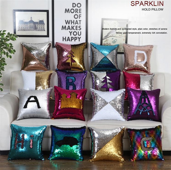 top popular New Sequin Pillow Case cover Mermaid Pillow Cover Glitter Reversible Sofa Magic Double Reversible Swipe Cushion cover I378 2019