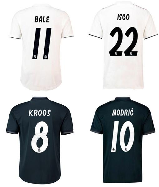 Großhandel Real Madrid Fußball Trikot 18 19 BALE MODRIC ISCO ASENSIO RAMOS KROOS Fußballshirts Erwachsene Top Thai Qualität Trikots Sportuniformen Von
