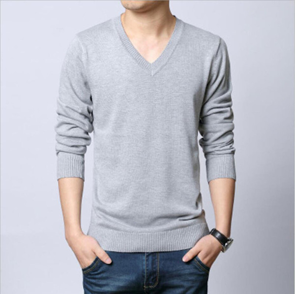 Autumn Sweaters Men V Neck Long Sleeve Thick Warm Pullover Sweaters Fashion Christmas Gift for Men Hot Sale