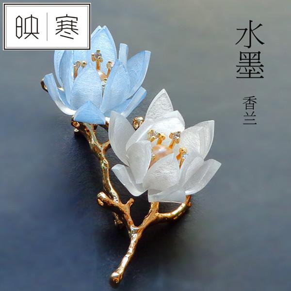 YINGHAN Zirkon Perle Brosche italienische Hand Anhänger große Pin Geschenk BH Halskette Orchidee plattiert 18KSN3959
