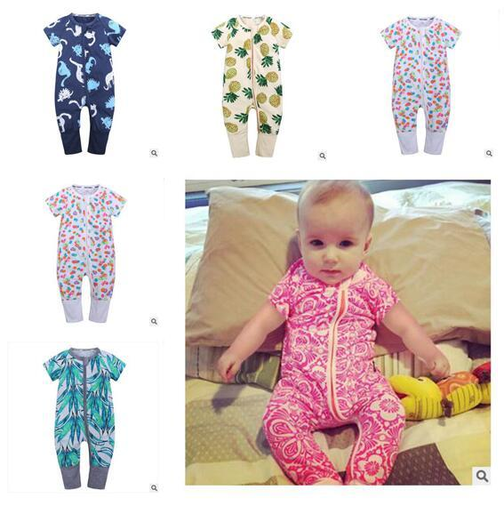 Newborn Clothes One pieces Boys Girls Jumpsuit Baby Rompers Pineapple Short Sleeve Cotton Overalls Romper DHL Free Shipping