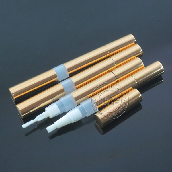 2.0ml Aluminium metal pen with different applicators shiny gold twist up pen cosmetic packaging moq 200pcs