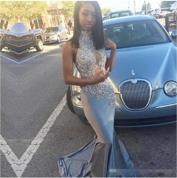 2018 Silver High Neck Black Girls Prom Dresses Sleeveless Lace Appliqued Mermaid Hollow Out Evening Dresses Vintage Prom Gowns