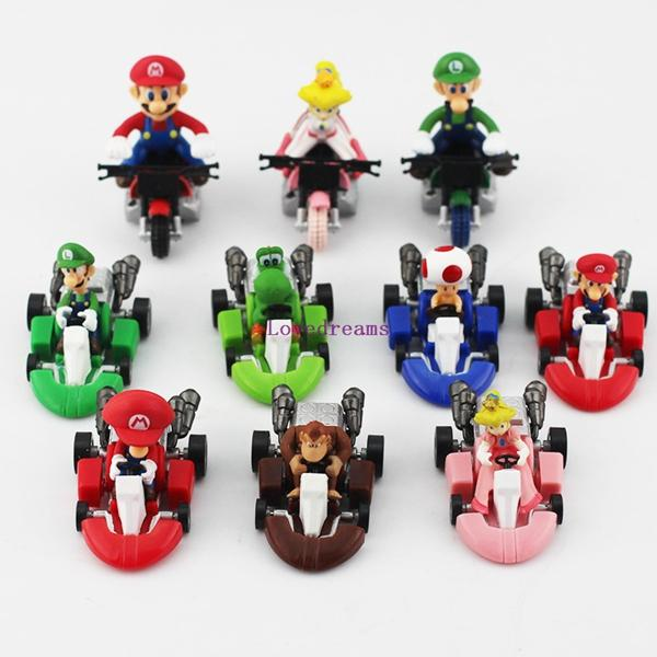 Hot Sale!20pcs/2set New Cute Super Mario Bros Kart Pull Back Car Motorcycle PVC Action Figure Toys Brithday Gift For Phone Accessories