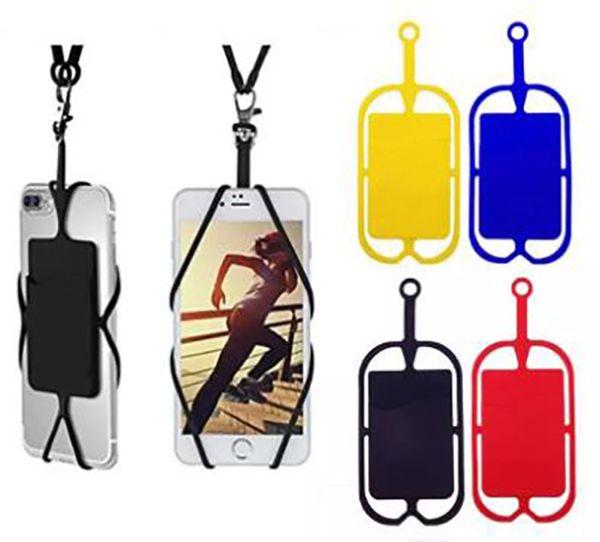 Silicone Lanyards Neck Strap Collier Sling Titulaire de la carte Strap Keychain pour iPhone Samsung Huawei Universal Mobile Téléphone