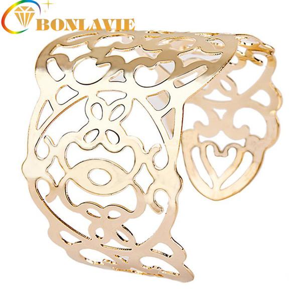 весь saleBONLAVIE 2017 роскошные мода Женская широкий золотой цвет полые Шарм манжеты браслет ювелирные изделия Бесплатная доставка 1009B013