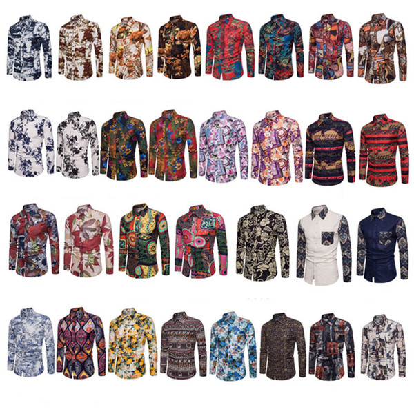 top popular New Casual Clothes Man Popular Nightclub Fashion Shirts Long Sleeve Turn-down Collar Casual Shirts Trendy Cotton Polo Shirts Men Plus Size 2021