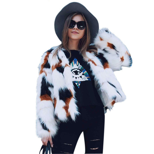 2018 New Mixed Color Faux Fur Coat Women Long Sleeve Elegant Autumn Winter Faux Fur jacket Hairy Overcoat