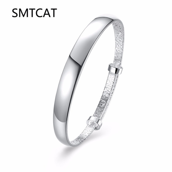 Smooth Round Bangle Bracelets for Women Silver Cuff Bangles Adjustable Wristband Fashion 925 Jewelry Birthday Gifts Bijoux Femme